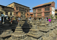 Stupas, Swayambhunath Temple or Monkey Temple, Kathmandu, Nepal