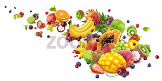 Falling exotic fruits harvest isolated on white background