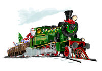Vector Christmas card with cartoon Santa Express