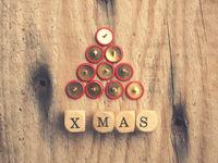 Abstract Christmas tree shape on wood