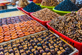 Dried food products sold at the Siab Bazaar in Samarkand
