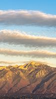 Vertical Panorama view of Mount Timpanogos at sunset