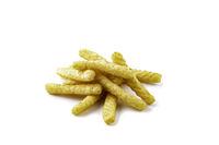 Pile of prawn crackers on white background