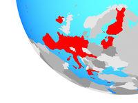 Eurozone member states on globe
