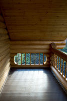 element of the balcony of the house from the Russian house from round logs