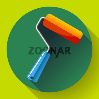 Paint Roller Icon. home repair apartments symbol. Flat design style.