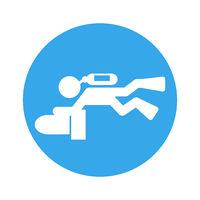 scuba scooter diver pictogram round