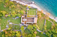 Island of Krk Fulfinum Mirine basilica ruins near Omišalj aerial view