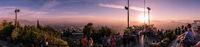 Astonishing sunset panoramic view of Santiago de Chile from Cerro San Cristobal, Chile