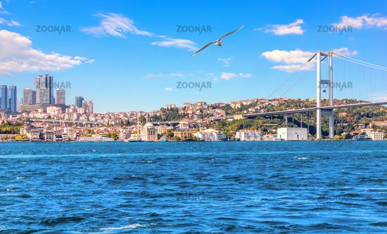 Bosphorus Bridge and Istanbul skyscrappers, beautiful view