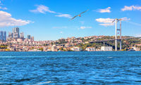 Bosphorus Bridge and Istanbul skyscrappers, beautiful view