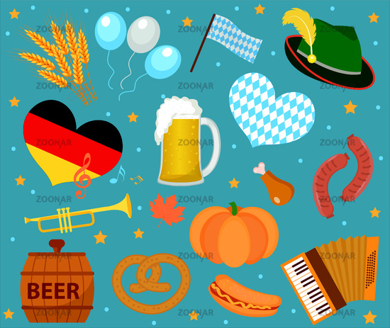 Oktoberfest icon set , flat or cartoon style. October fest in germany collection of traditional symbols, design elements with beer, food, cap. Isolated on white background. Vector illustration.