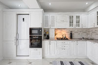 modern white wooden kitchen interior