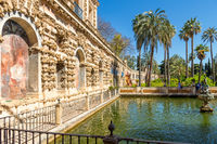 Pond in the garden of the Royal Alcázar, Seville, Andalusia, Spain, Europe