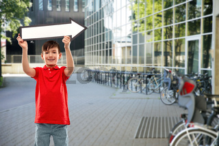 boy holding big white rightwards thick arrow