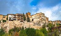 Panoramic view of Cuenca and famous hanging houses, Spain.