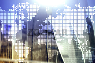 Double exposure world map on skyscraper background. Communication and global business concept.