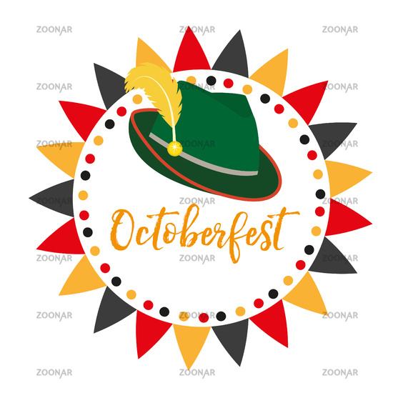 Oktoberfest frames, flat or cartoon style. Festival in germany collection of round bunting, flag, design elements .Isolated on white background. Vector illustration