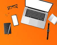 Office desk mockup top view isolated on orange