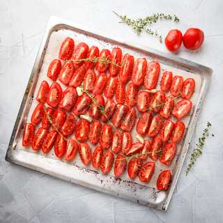 Dried tomatoes in baking tray