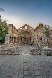 The Church of Saint Sofia or Old Bishopric at sunrise in Nessebar ancient city. Nesebar, Nesebr is a UNESCO World Heritage Site. A Byzantine architecture ruins of an old church in Nessebar, Bulgaria