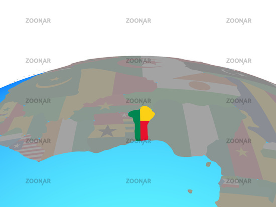 Map of Benin with flag on globe