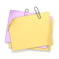Blank sticky note with paperclip 3D