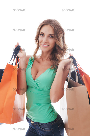 Shopping woman on white