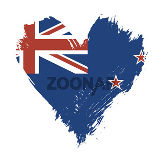 Brushstroke painted flag of New Zealand