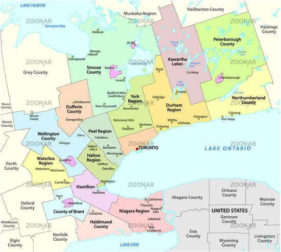 Map of the Golden Horseshoe metropolitan area around the western end of Lake Ontario Ontario Canada