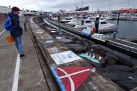 Marina - sailors have left their mark on the wharf after crossing the Atlantic