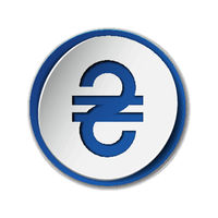 Ukrainian Hryvnia currency sign on round sticker with blue backdrop