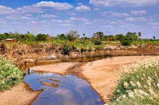 Typische Flusslandschaft in Sambia,    Typical river landscape in Zambia