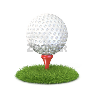 Golf ball on red tee in grass. 3D