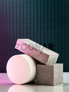 Art composition of volumetric geometric shapes on a textural background with artistic lighting.