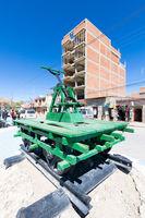 Bolivia Uyuni railway platform with manual mining equipment