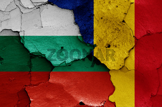 flags of Bulgaria and Romania painted on cracked wall