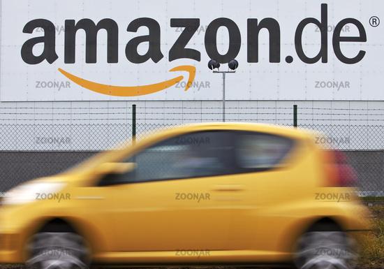 Yellow car in front of Amazon Logistics Center, Rheinberg, North Rhine-Westphalia, Germany, Europe