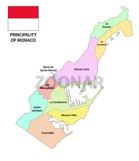Principality of Monaco administrative and political map