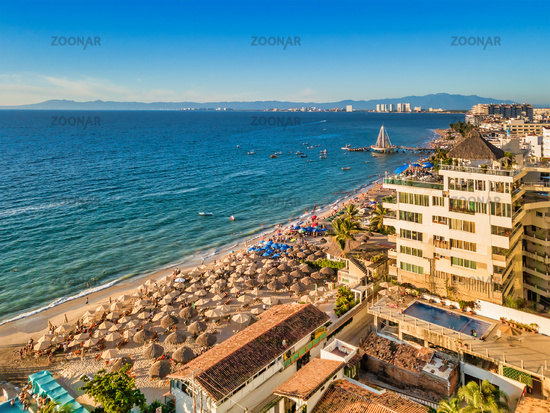 Aerial view of Los Muertos Beach, the most popular beach in Puerto Vallarta, Jalisco, Mexico.