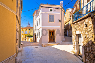 Town of Omisalj old mediterranean street view