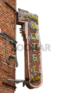 Isolated Metal Motel Sign
