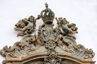 Church baroque style sculptures and ornaments in Sabara