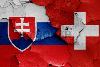 flags of Slovakia and Switzerland painted on cracked wall