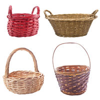 wicker baskets isolated on white background