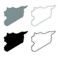 Map of Syria icon outline set grey black color