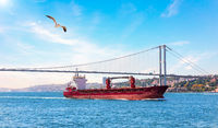 A ship in the Marmara sea and the Bosphorus bridge, Istanbul