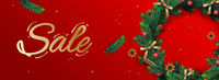 Christmas Sale banner. Holiday horizontal background, header for website. Xmas background, design with realistic Christmas wreath, vector illustration