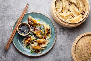 Asian dumplings on blue plate