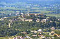 Crillon-le-Brave with surrounding landscape, Provence, France, old village built on a hill